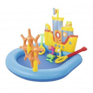 Detský bazénikBestway lodičkaje detský nafukovací bazén, obsahuje nafukovací a pohyblivý volant, vzduchovú komoru s trvanlivým ventilom, nafukovacie rybárske a pristávacie siete zahrnuté v balení a skvelú stenu v tvare remorkéra.