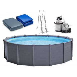 Nadzemny bazen Intex Graphite Gray Panel Pool 4,78m piesková filtrácia 26382NP
