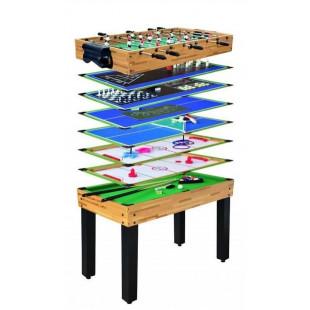 Multiherný stôl skrýva 12 skvelých hier pre nekonečné chvíle zábavy s celou Vašou rodinou alebo s priateľmi. Hracie pole a všetko príslušenstvo (tága, gule, pálky, puk, karty, kocky, figúrky a mnoho ďalšieho) sú umiestnené prakticky pod každou hracou doskou, takže ich máte vždy po ruke. Herný stôl je prakticky skladný.