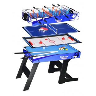 Multiherný stôl skrýva 4 skvelé hry pre nekonečné chvíle zábavy s celou Vašou rodinou alebo s priateľmi. Hracie pole a všetko príslušenstvo (tága, gule, pálky, puk, karty, kocky, figúrky a mnoho ďalšieho) sú umiestnené prakticky pod každou hracou doskou, takže ich máte vždy po ruke. Herný stôl je prakticky skladný.