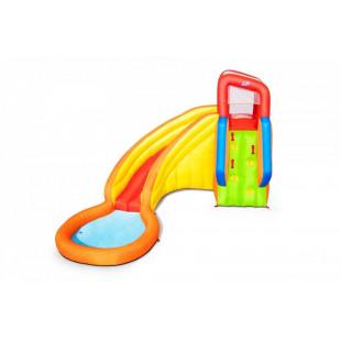 Obrovské hracie centrum spolu s bazénikom je v podstate detský nafukovací bazén spojený s hracím hradomz veľmi odolného certifikovaného materiálu. Jedná sa o nafukovací hrad s rozmermi 366 x 337 x 241cm, ktorý si vaše deti jednoducho zamilujú a zažijú sním mnoho zábavy. Urobte svojim deťom deň pri bazéne ešte viac vzrušujúci s týmto veľkým nafukovacím hradoms bezpečnostnými prvkami.