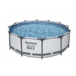 Bazén Bestway Steel Pro Max 366x100 cm 4v1 56418s filtračným čerpadlom je odolný voči korózii, povlak PVC bazénu vyrobený v technológii DURAPLUS™, obsahuje vypúšťací ventil a steny bazénov s mozaikovou grafikou.