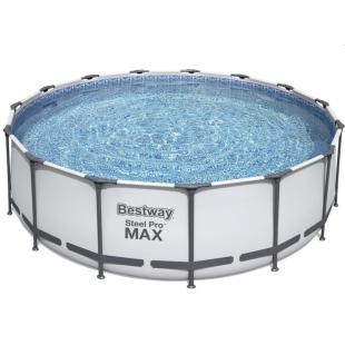 Bazén Bestway Steel Pro Max 457x122 cm 56438s filtračným čerpadlom je odolný voči korózii, povlak PVC bazénu vyrobený v technológii TRITECH ™, obsahuje vypúšťací ventil a steny bazénov s mozaikovou grafikou.