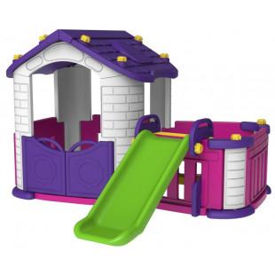 Záhradný domček so šmykľavkou fialový