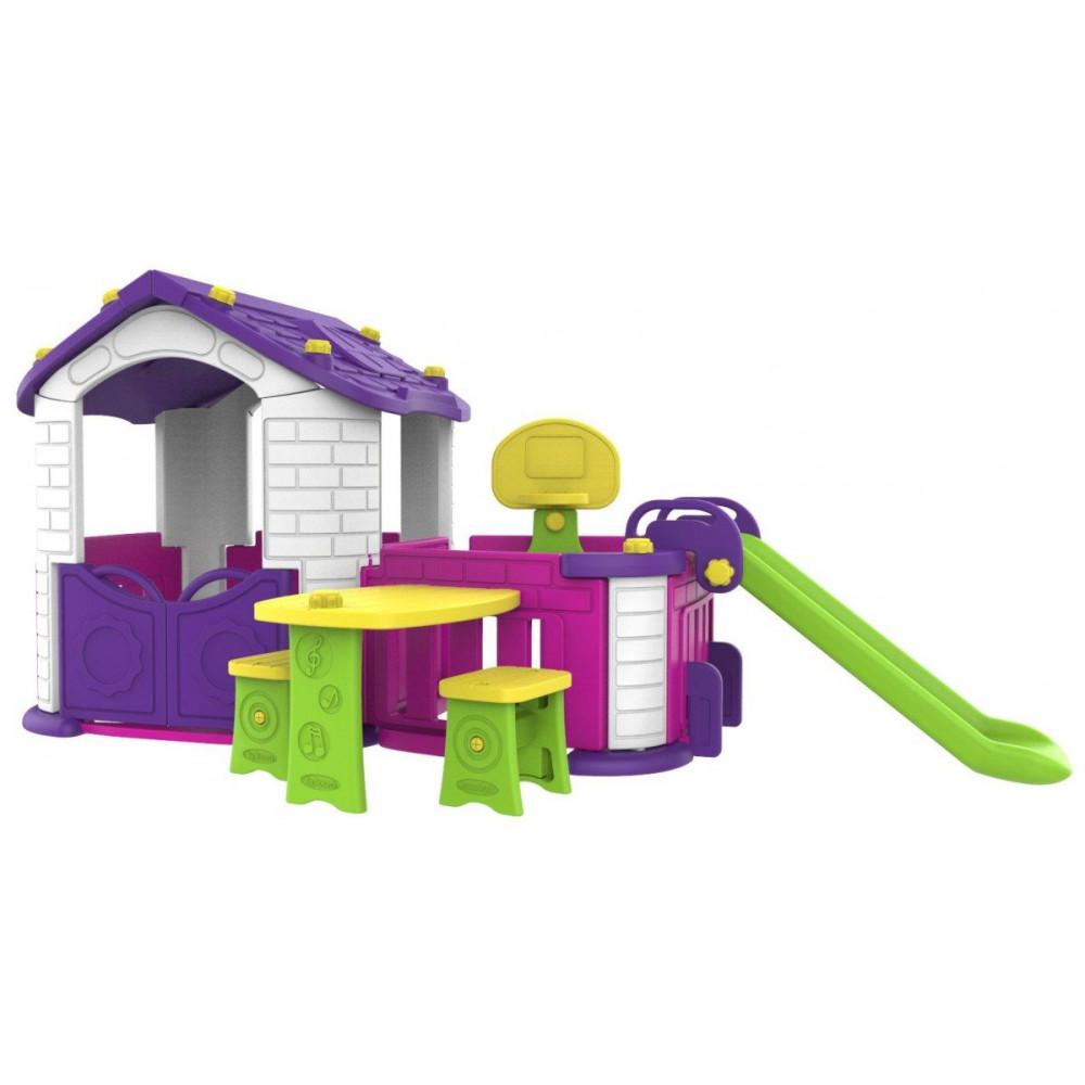 Veľký záhradný domček s predizbou 5v1 fialový